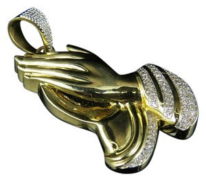 Other 10K Yellow Gold Praying Hands Diamond Pendant 0.50ct