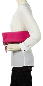 Banana Republic Foldover Leather Colorblock Purple/pink Clutch