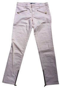 Zara Light Pink Waxed Skinny Gold Hardware Straight Leg Jeans-Coated