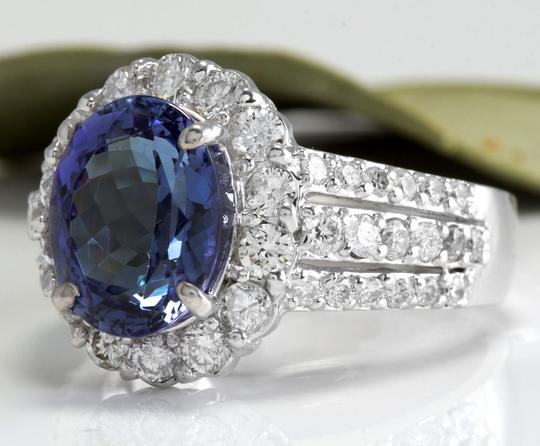 Other 5.15 Carats Natural Tanzanite and Diamond 14K Solid White Gold Ring Image 1
