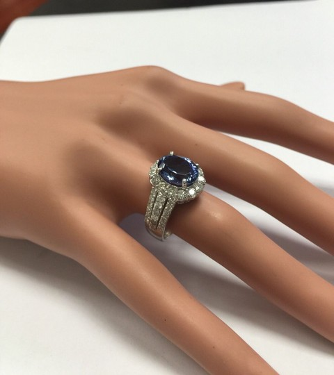 Other 5.15 Carats Natural Tanzanite and Diamond 14K Solid White Gold Ring Image 10