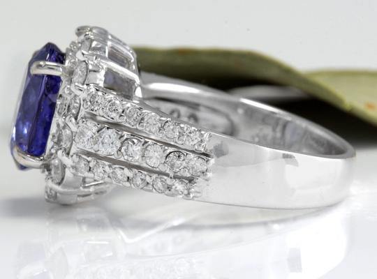 Other 5.15 Carats Natural Tanzanite and Diamond 14K Solid White Gold Ring Image 2