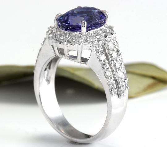 Other 5.15 Carats Natural Tanzanite and Diamond 14K Solid White Gold Ring Image 3