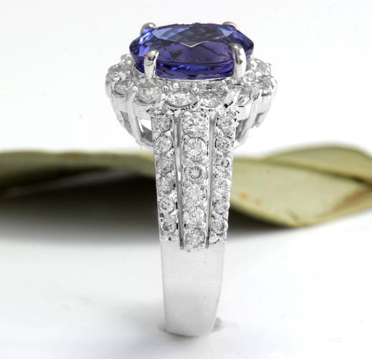 Other 5.15 Carats Natural Tanzanite and Diamond 14K Solid White Gold Ring Image 4