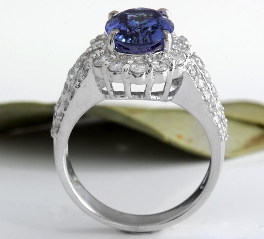 Other 5.15 Carats Natural Tanzanite and Diamond 14K Solid White Gold Ring Image 5