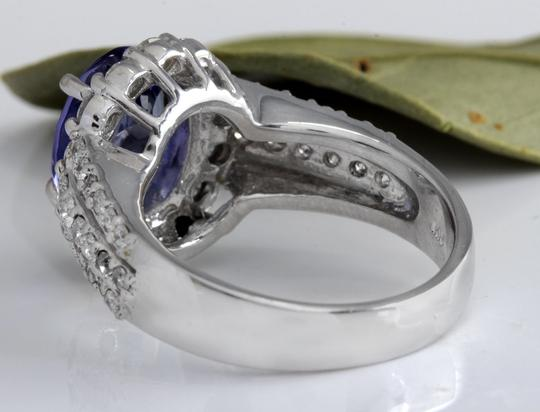 Other 5.15 Carats Natural Tanzanite and Diamond 14K Solid White Gold Ring Image 6