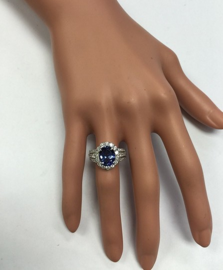Other 5.15 Carats Natural Tanzanite and Diamond 14K Solid White Gold Ring Image 8