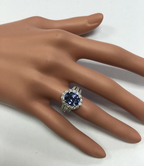 Other 5.15 Carats Natural Tanzanite and Diamond 14K Solid White Gold Ring Image 9