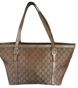 Gucci Monogram Canvas Leather Shimmer Tote in Brown