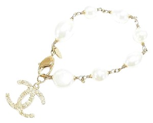 Chanel Authentic Chanel Classic CC Logo Pearl Bracelet with Gold Hardware