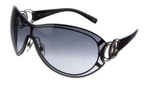 Chanel Black acetate Chanel interlocking CC logo shield sunglasses