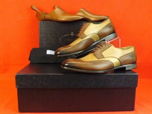 Prada Brown Burnished Tan Leather Brogue Oxfords Trees Set 10 Us 11 Shoes