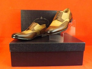 Prada Mens Brown Nude Pewter Glazed Tooled Leather Lace Up Oxfords 9.5 10.5