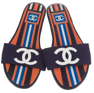 Chanel Interlocking Cc Logo Peep Toe Embroidered Monogram Orange, White, Black, Blue Sandals