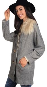 Cousin Earl Boho Faux Fur Collar Trench Classic Charcoal Jacket