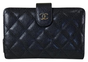 Chanel Chanel Wallet Compact Caviar Black With Silver Hardware.