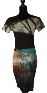 MCQ by Alexander McQueen Abstract Art Cotton Knit Sheath Flattering Dress