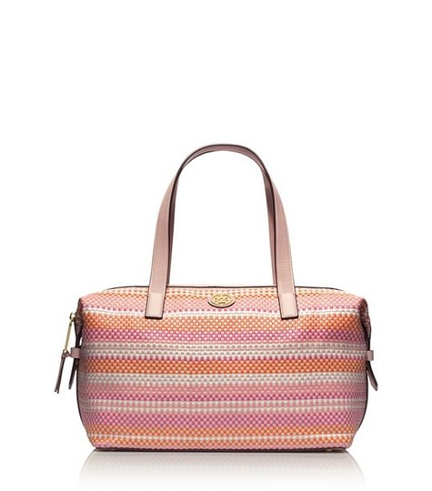 Tory Burch Leather Spring Summer Classic Gold Hardware Tote in Pinks