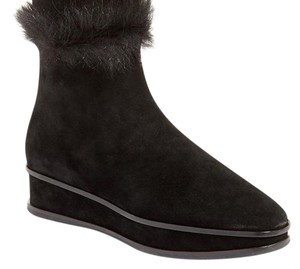 Tory Burch Ankle Wedge Suede Shearling Lined Black Boots