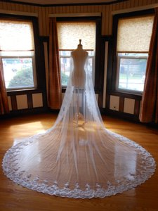Off White Long One Tier Cathedral with Lace Applique Edge O002 Bridal Veil