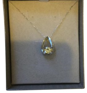 New Lab Created White Sapphire & Sterling Silver Pendant New Lab Created White Sapphire Teardrop Pendant