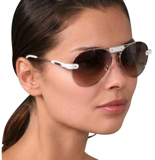 White and Gold Oversized Tamaris Aviator with Leather Trim Sunglasses