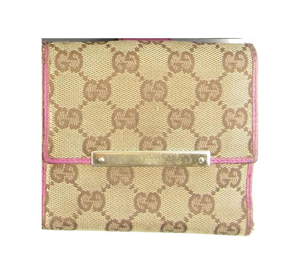 5d9635b78c1b Gucci Brown Large G Logo Canvas and Hot Pink Leather Vintage Wallet ...