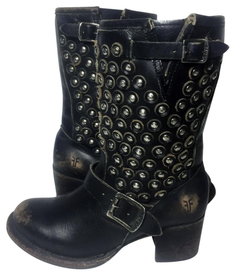 Frye Black Leather 76289 Vera Disc Short Leather Black Motorcycle Boots/Booties a71a01