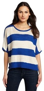 Anthropologie Striped Oversized Red Ivory Sweater