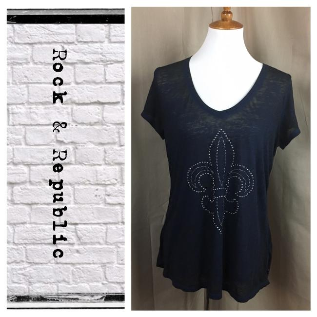 Preload https://img-static.tradesy.com/item/21315655/rock-and-republic-navy-blue-tunic-style-embellished-tee-shirt-size-14-l-0-1-650-650.jpg
