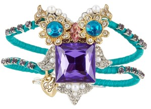 Betsey Johnson New! Betsey Johnson Critter Statement Purple Owl Hinged Bracelet B09163