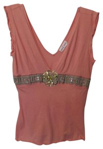 Rebecca Beeson Anthropologie Knit Small Beaded Embroidered Top Peach
