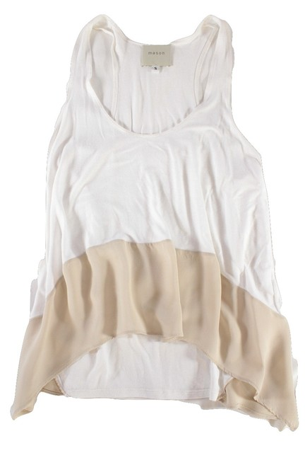 """Item - White / Nude Jersey """"Two Tone"""" / Silk Trim - S Tank Top/Cami Size 6 (S)"""