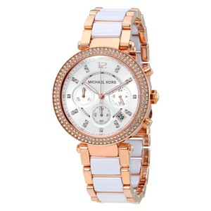 Michael Kors Michael Kors MK5774 Rose Gold Parker White Acetate Ladies Watch New