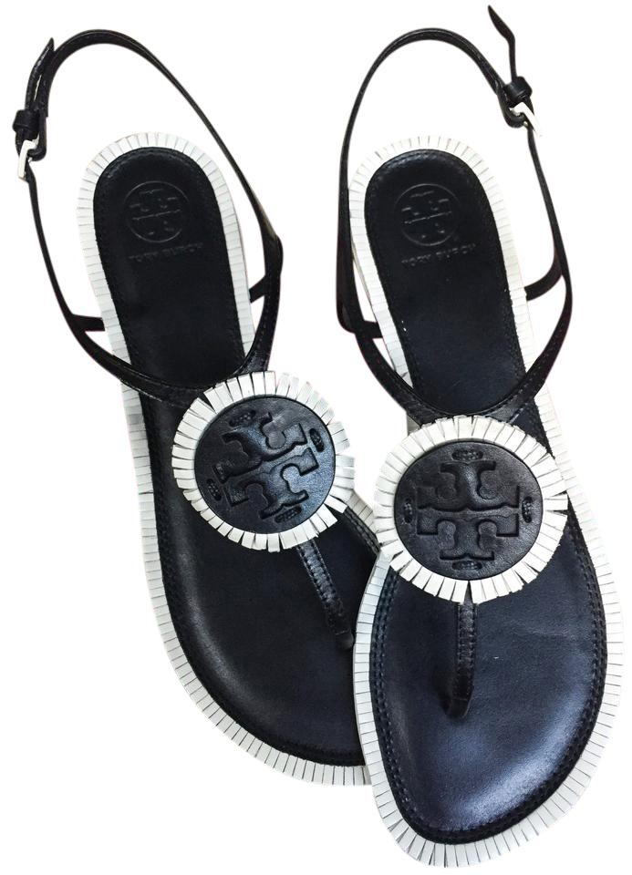 9bef2f069 Tory Burch Black Bleach Black - 890 Miller Fringe Flat Sandals. Size  US 7.5  ...