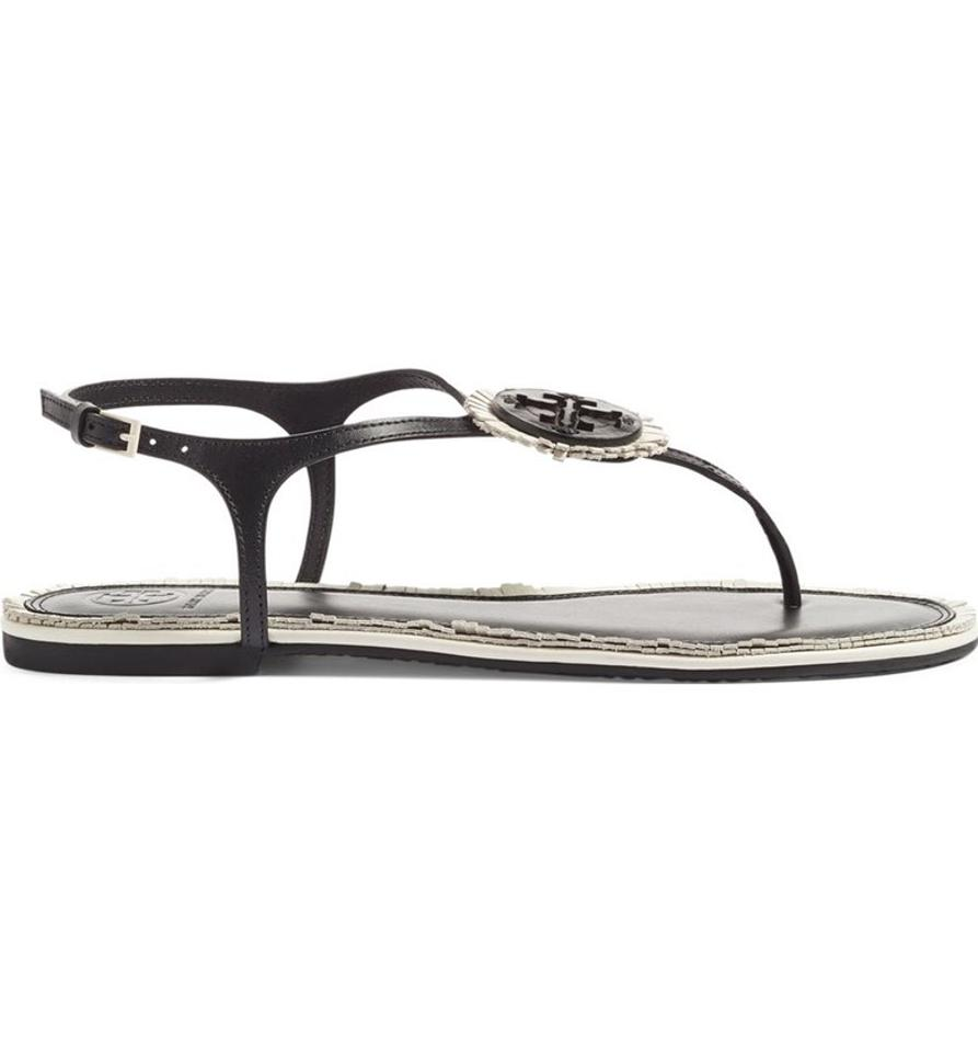 d8b8f63ac Tory Burch Black Bleach Black - 890 Miller Fringe Flat Sandals Size US 7.5  Regular (M