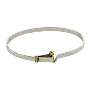 Tiffany & Co. Tiffany & Co 925 Sterling Silver 18K Gold Hook & Eye Bangle Size 7