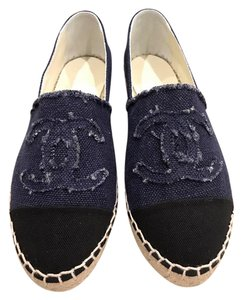 Chanel Denim Canvas Espadrille Classic Ballerina blue Flats