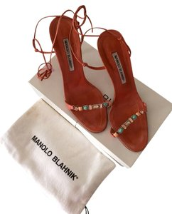 Manolo Blahnik Peach/coral Sandals