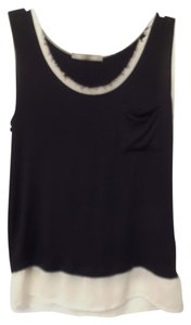 Anthropologie Finn & Clover Knit Contrast Fabric Frayed Top Black with White