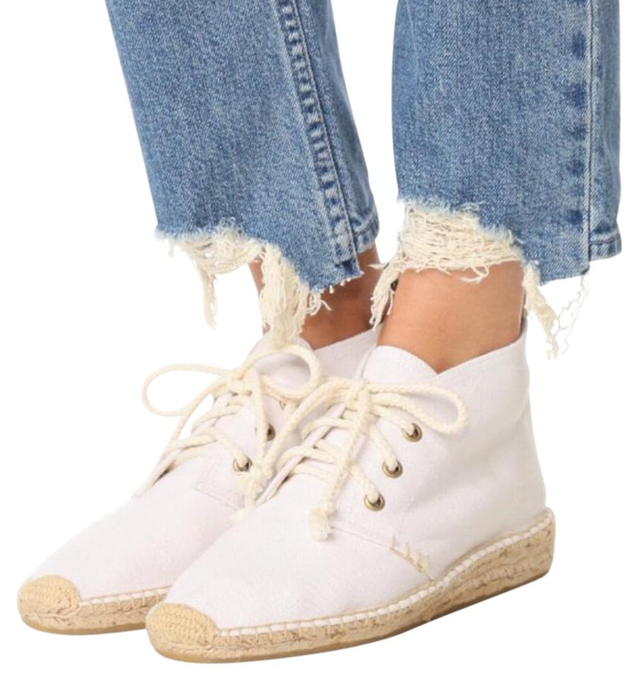 Soludos Off White & Beige with Blue Wedge Trim Espadrille Canvas Burlap Wedge Blue Sneakers 89fe27