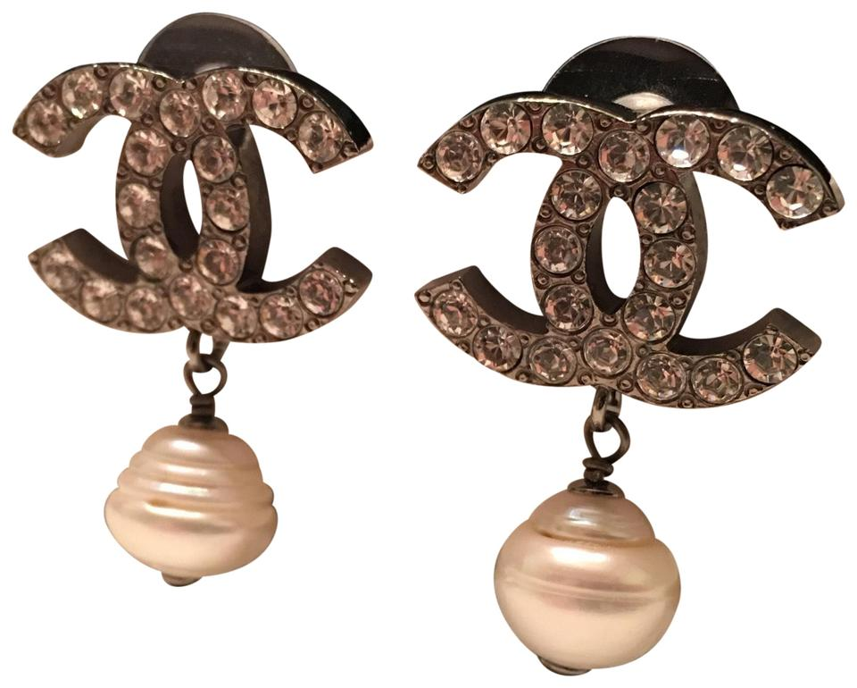 4d4c5e2fd Chanel CHANEL XL CC Silver Strass Crystal Earrings Image 0 ...
