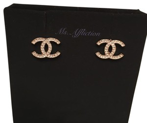 Chanel CHANEL Authentic CC Strass Crystal Gold Earrings New