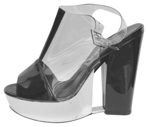 Chanel Wedge Edgy Black, Silver, Clear Platforms