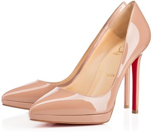 Christian Louboutin Plato Pigalle Pointed Toe Platform Patent Leather Beige Pumps