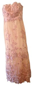 Marchesa Notte Rose Pink(Blush) Embroidered Tulle Gown Dress