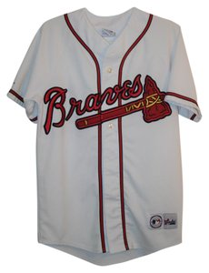 Majestic MLB Braves Jersey 24 Button Down Shirt White