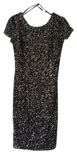 Adrianna Papell Beaded Sheath Sparkle Scoop Back Dress