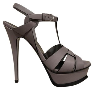 Saint Laurent Tribute Stiletto Platform Ankle Strap Leather gray Pumps