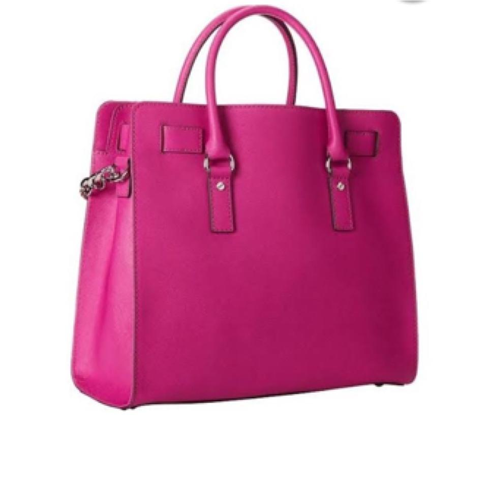 Mk Saffiano Leather Large Hamilton Tote In Raspberry Pink Silver 12345